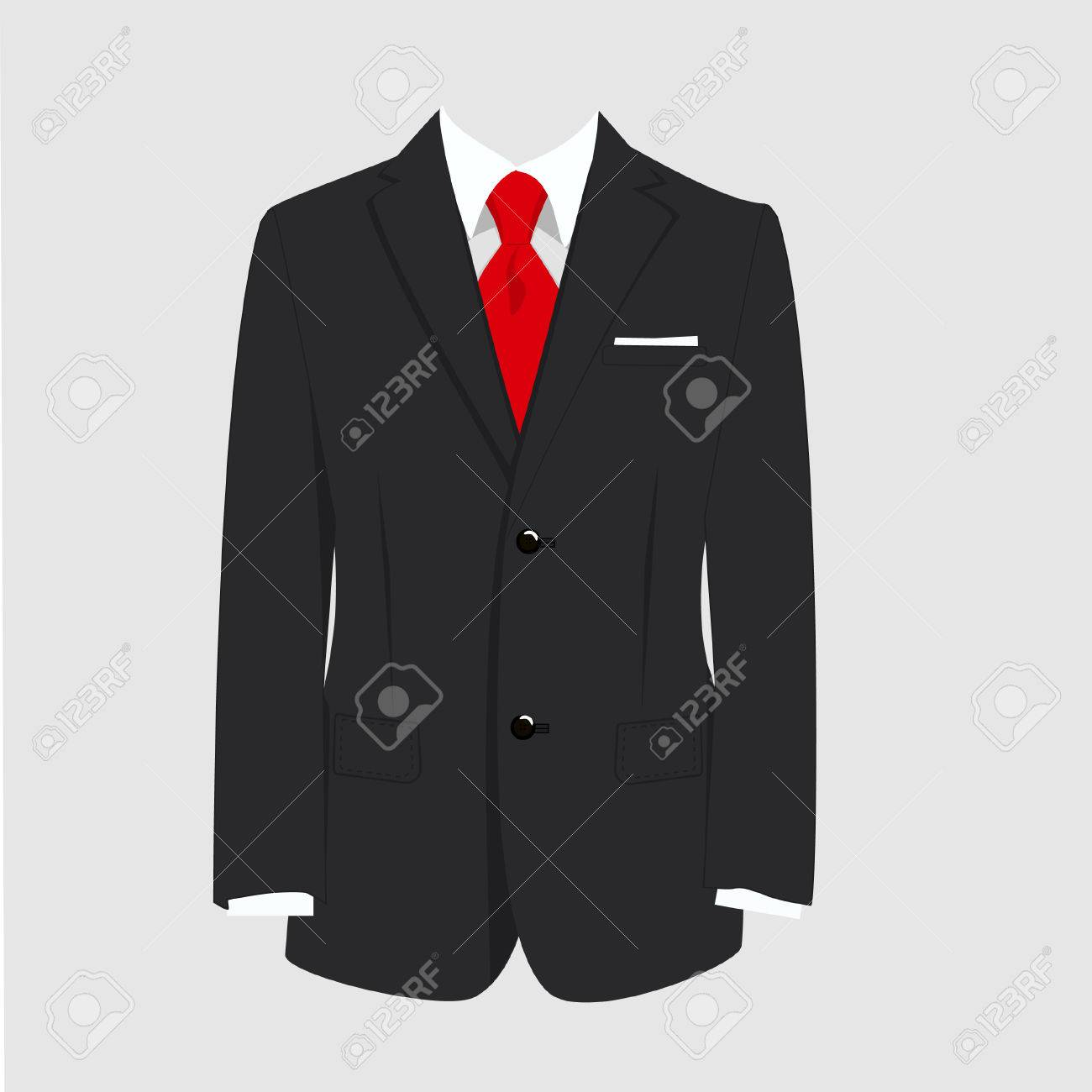 Vector illustration of black man suit with red tie and white shirt on grey background. Business suit, business, mens suit, man in suit - 45907866