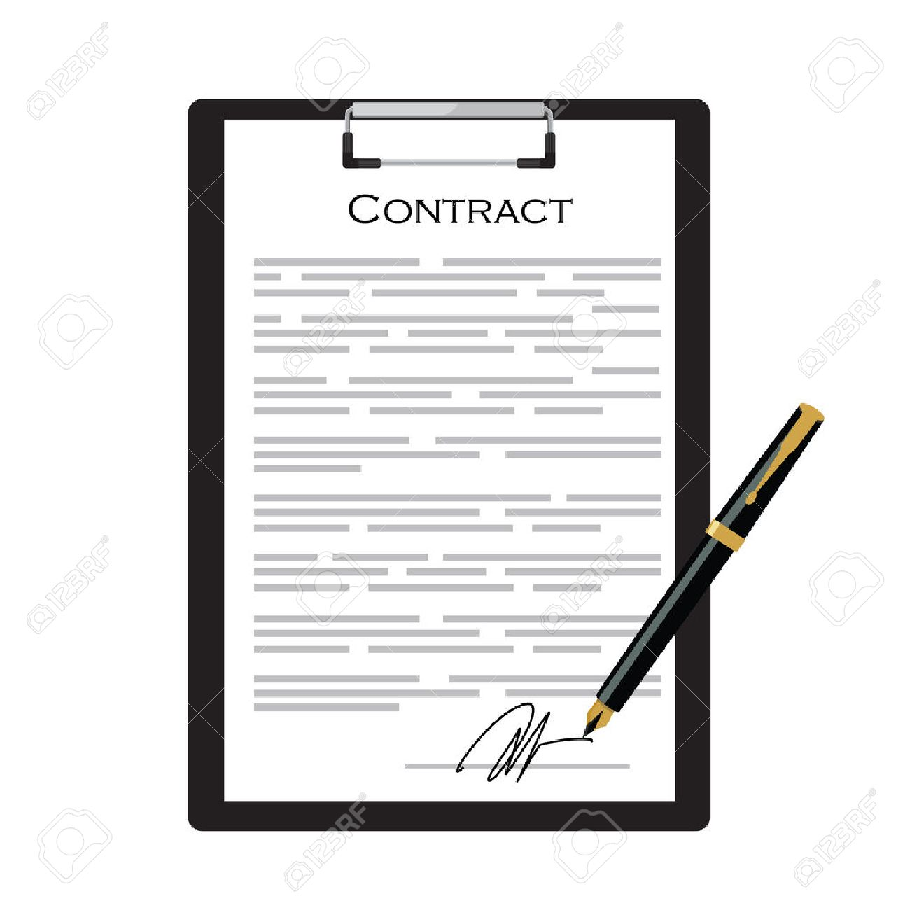 Business Contract With Signature On Black Clipboard With Golden Pen Vector  Illustration. Contraction Icon Stock  Free Business Contract