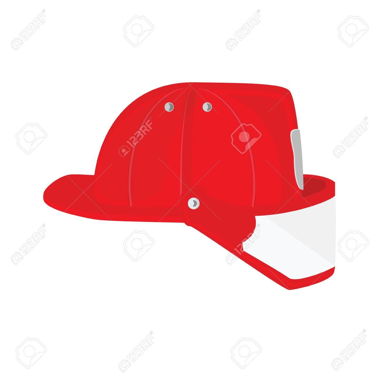 Foto de archivo - Vector ilustración bombero casco con cristal protector.  Icono sombrero de bombero rojo b128cc284de