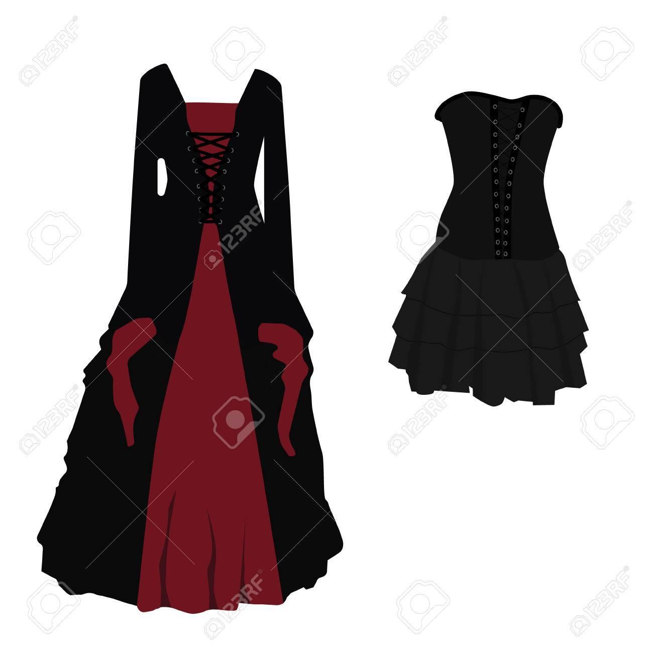 halloween-kostüm schwarz-roten gothic kleid für hexe vektor-illustration.  lange und kurze frau kleid mit korsett