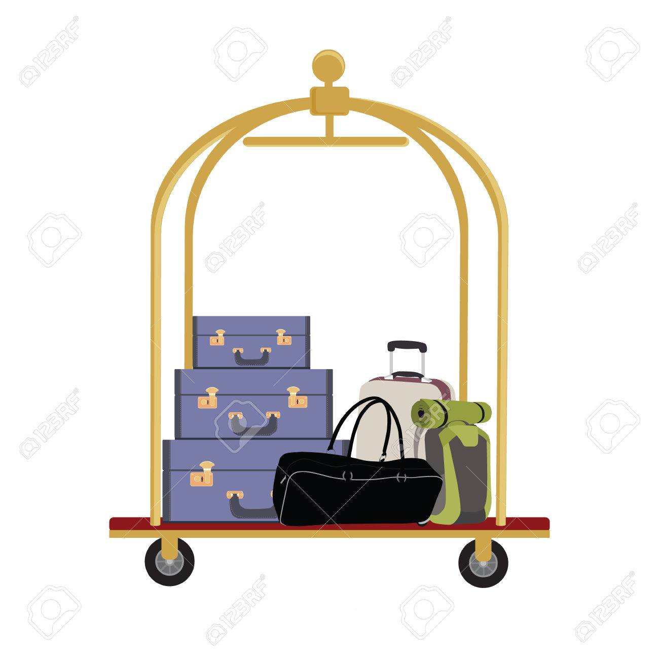 Vector illustration of hotel luggage cart with luggage, briefcase, backpack and bag. Luggage trolley - 45910518