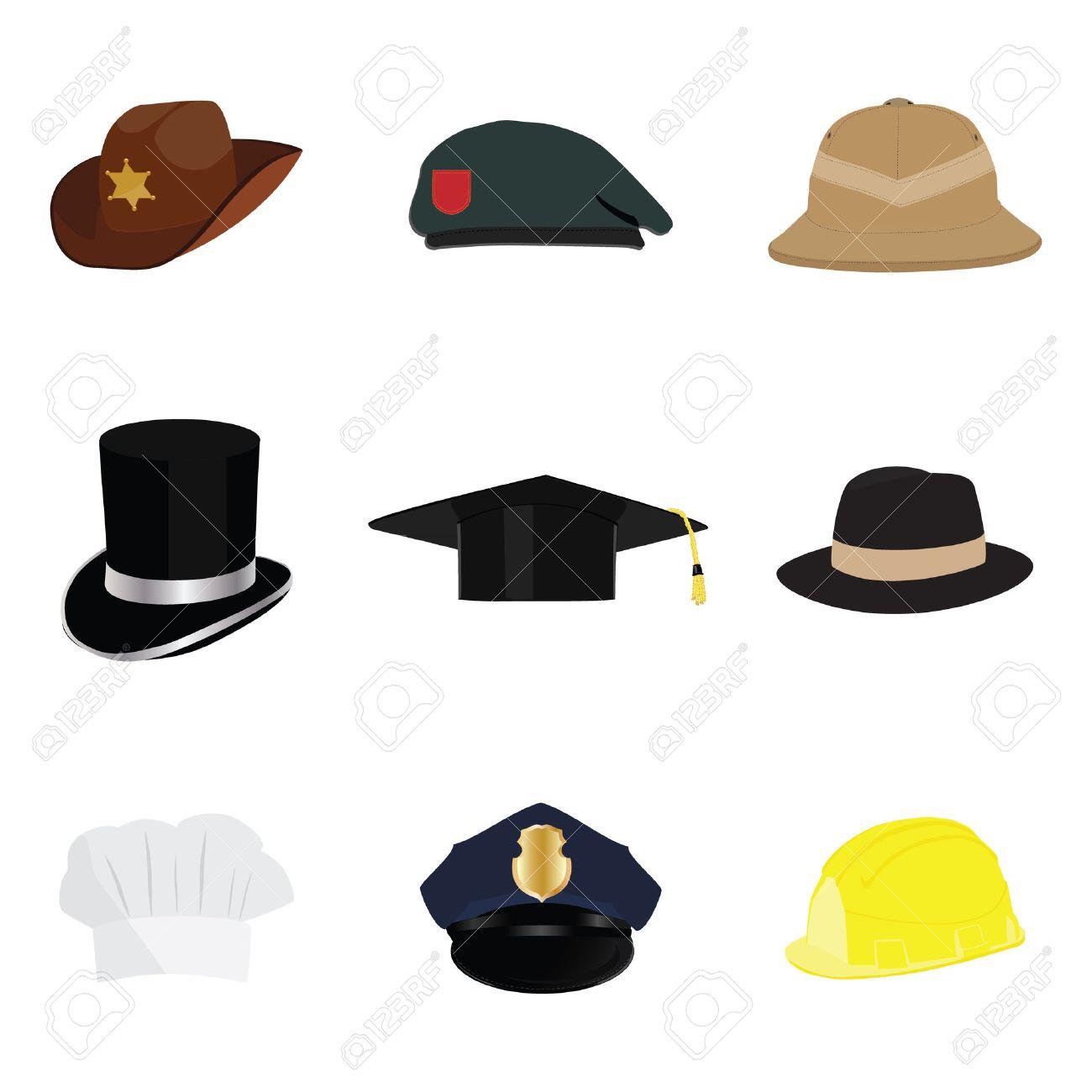 Hats and helmets collection, with policeman hat, sheriff hat, cowboy hat, work hat, top hat, graduation hat, fedora hat, safari hat, chef hat. Vector illustration cartoon. - 45910520