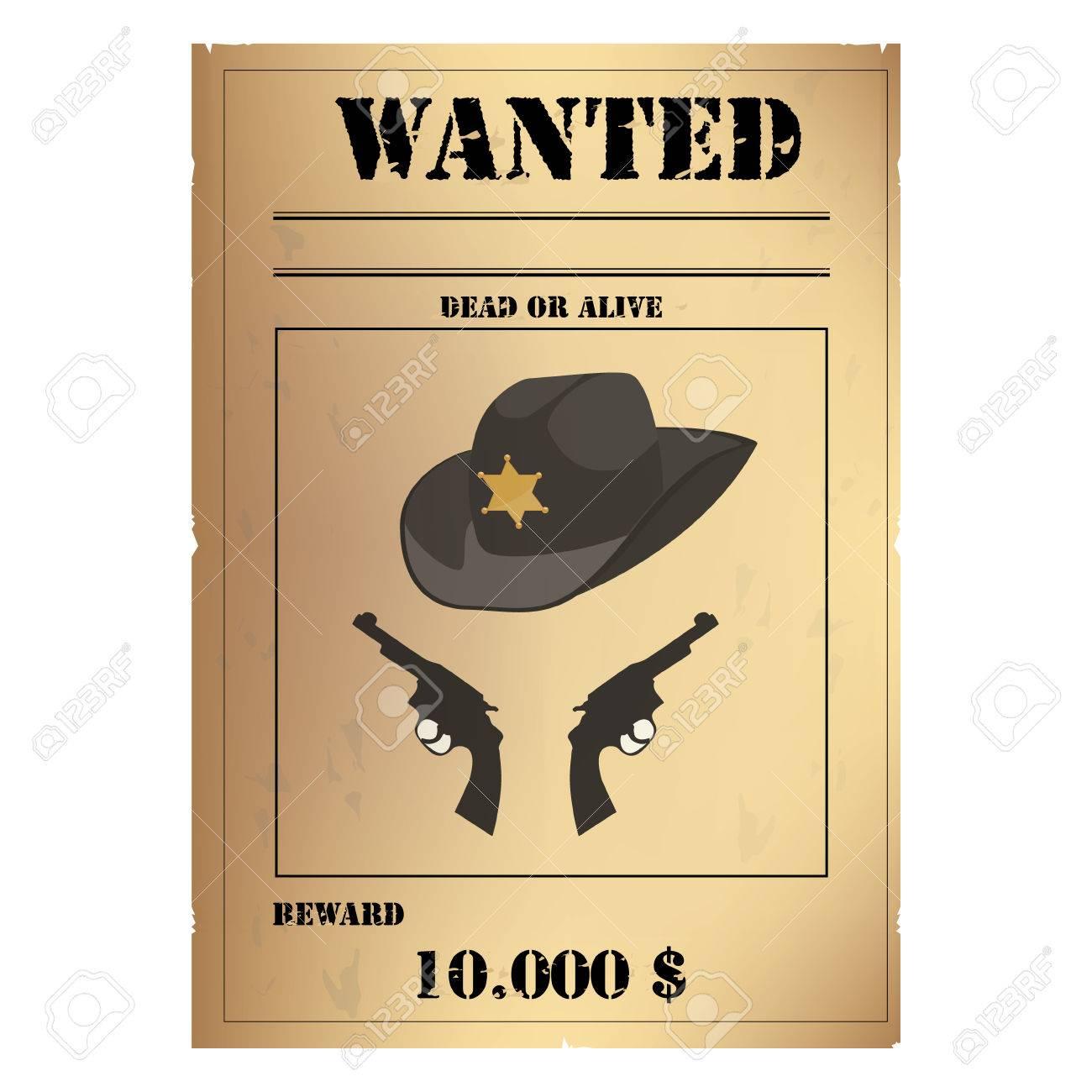 Vector Illustration Vintage Western Wanted Poster Template Wild – Western Poster Template