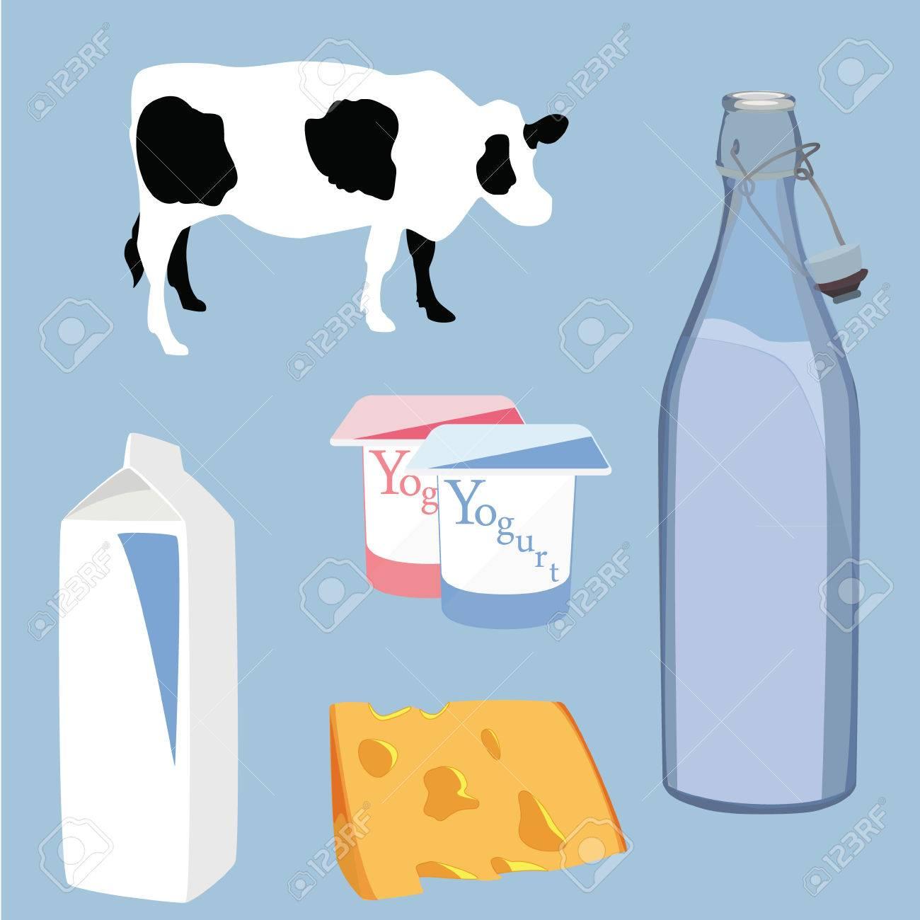 Vector illustration milk product icon set yogurt, cheese, milk and cow symbol on blue background - 45912699
