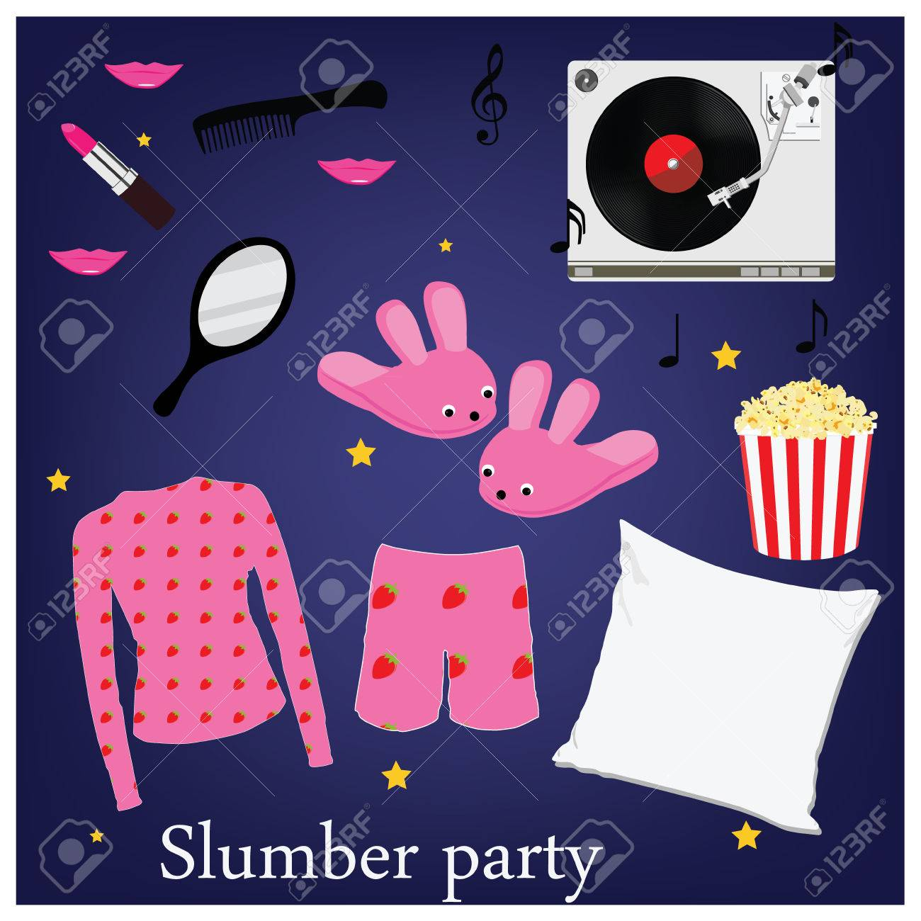 Slumber Party Invitation Symbols, Elements. Sleepover. Pajama ...