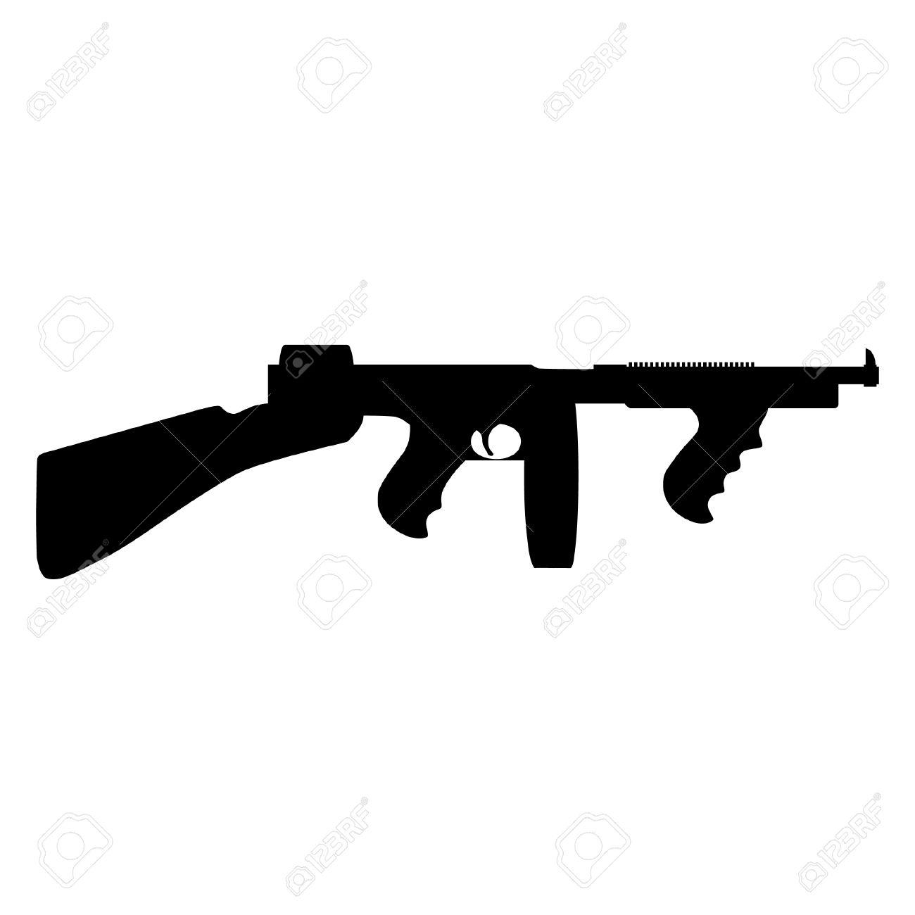 black silhouette of automatic weapon tommy gun thompson submachine rh 123rf com cris vector gun kriss vector gun
