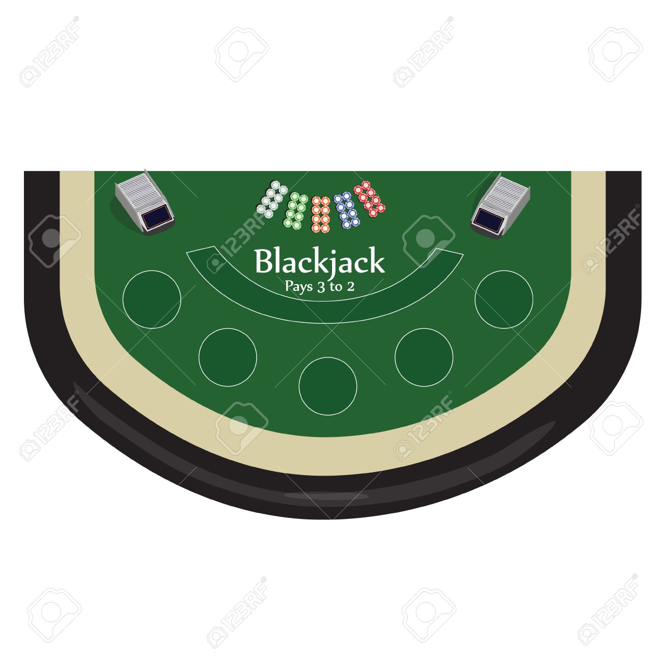 Merveilleux Vector   Vector Illustration Blackjack Table With Chips Top View. Casino  Gambling Game