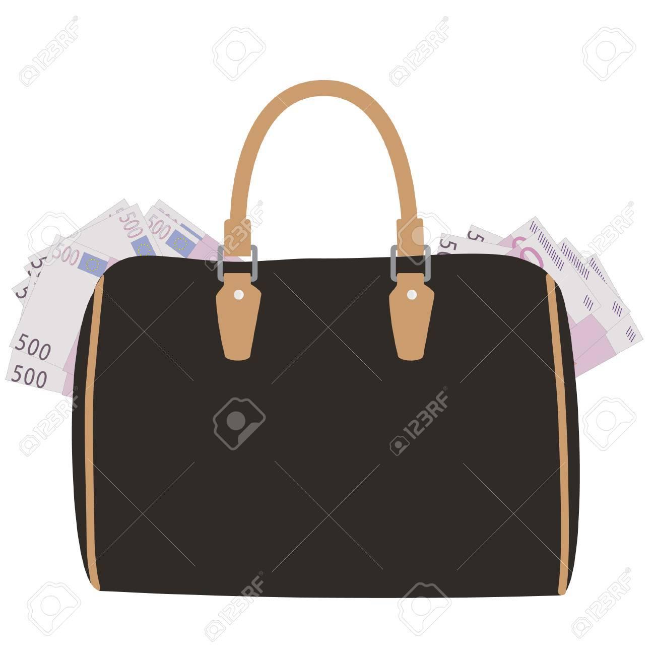 2add5b621454 Brown leather handbag with lot of money raster illustration. Five hundred  euro. Money bag