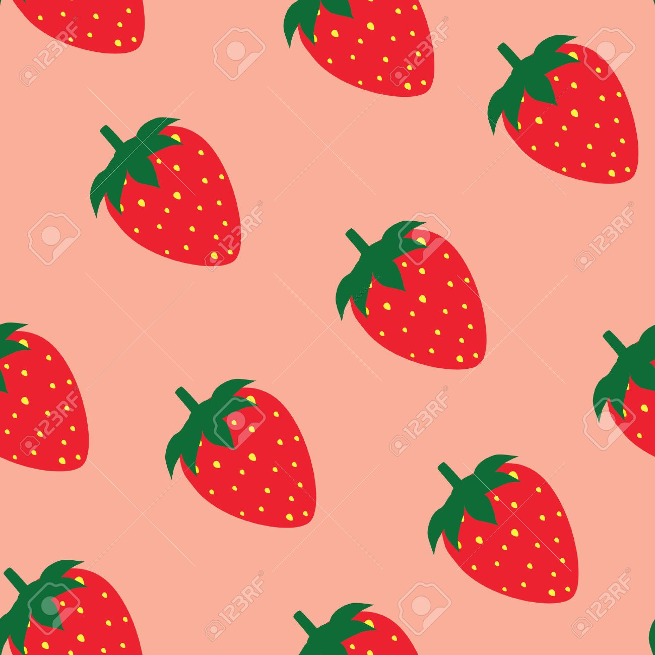 Strawberry pattern raster pink background, strawberry background - 46124351