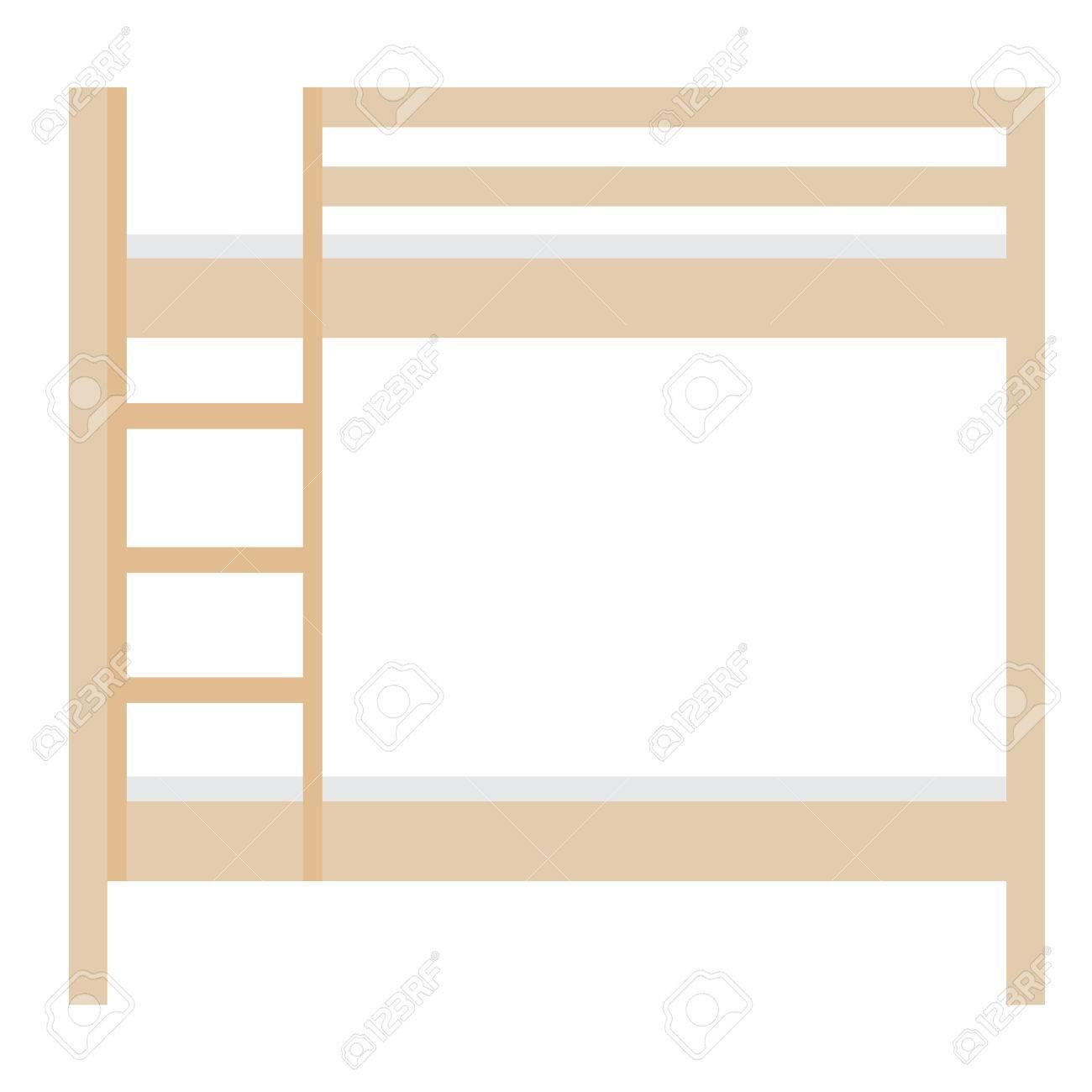 Cama Litera De Madera Ilustración De La Trama. Muebles De Dormitorio ...