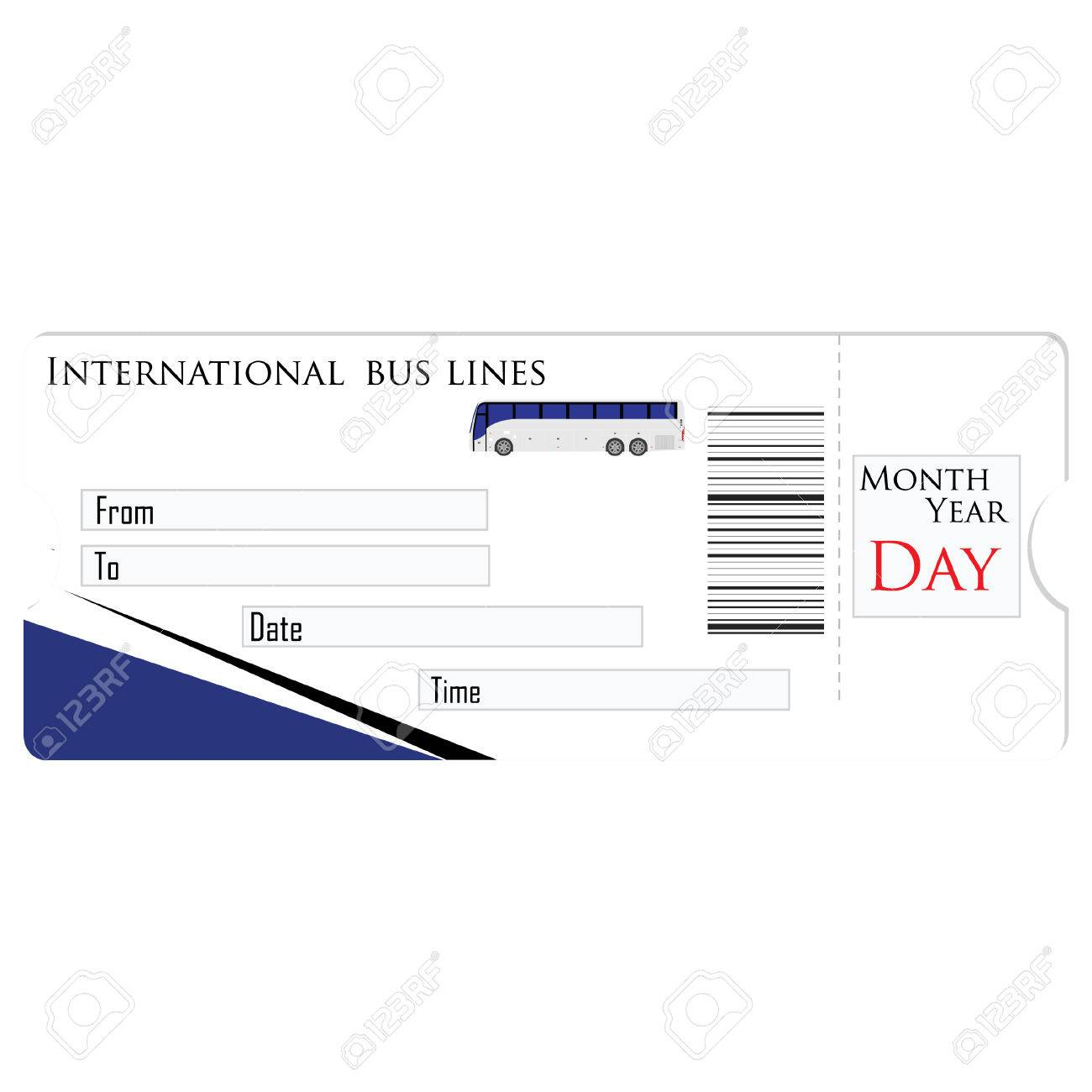 bus ticket raster isolated travel ticket blank ticket stock photo