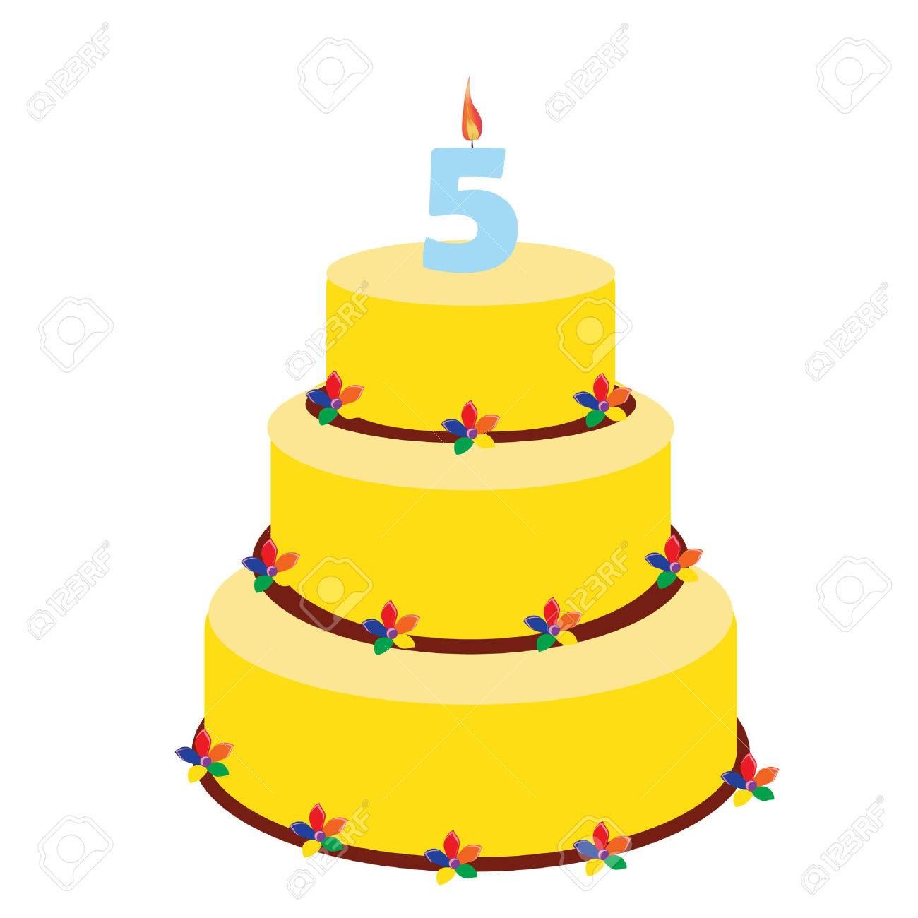 Pleasing Birthday Cake With Birthday Candle Number Five On Top Fifth Funny Birthday Cards Online Bapapcheapnameinfo