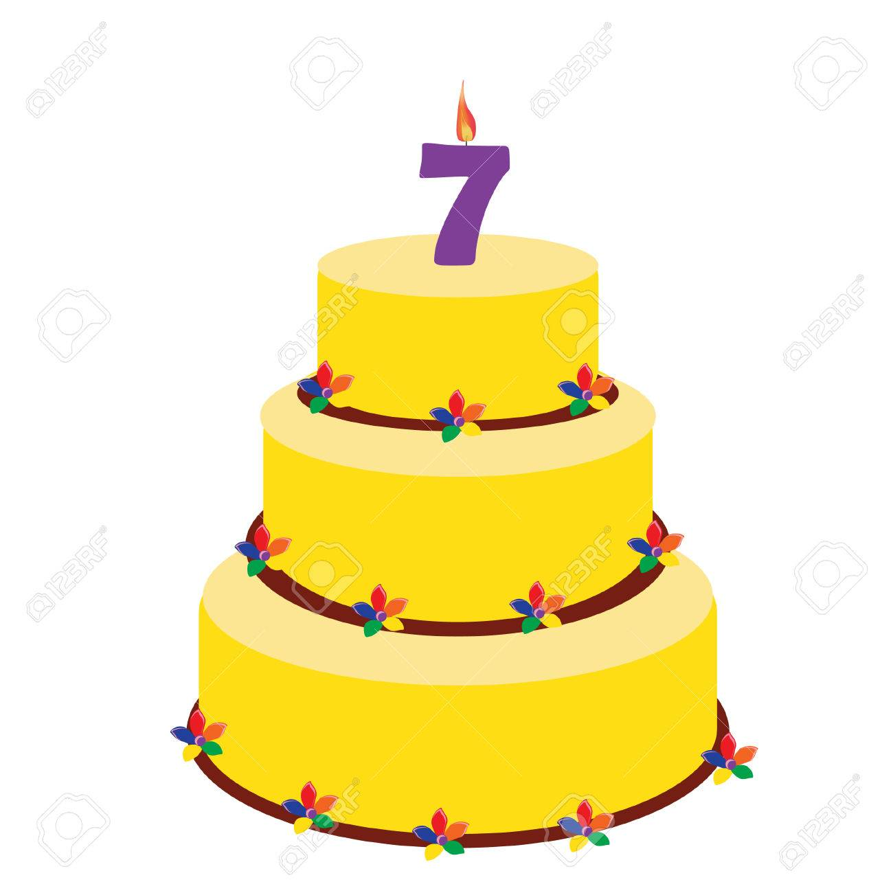 Birthday Cake With Candle Number Seven On Top Seventh Stock Photo