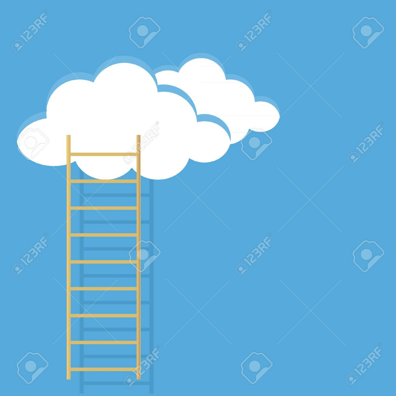 Blue Cloud And Ladder Isolated On White Background