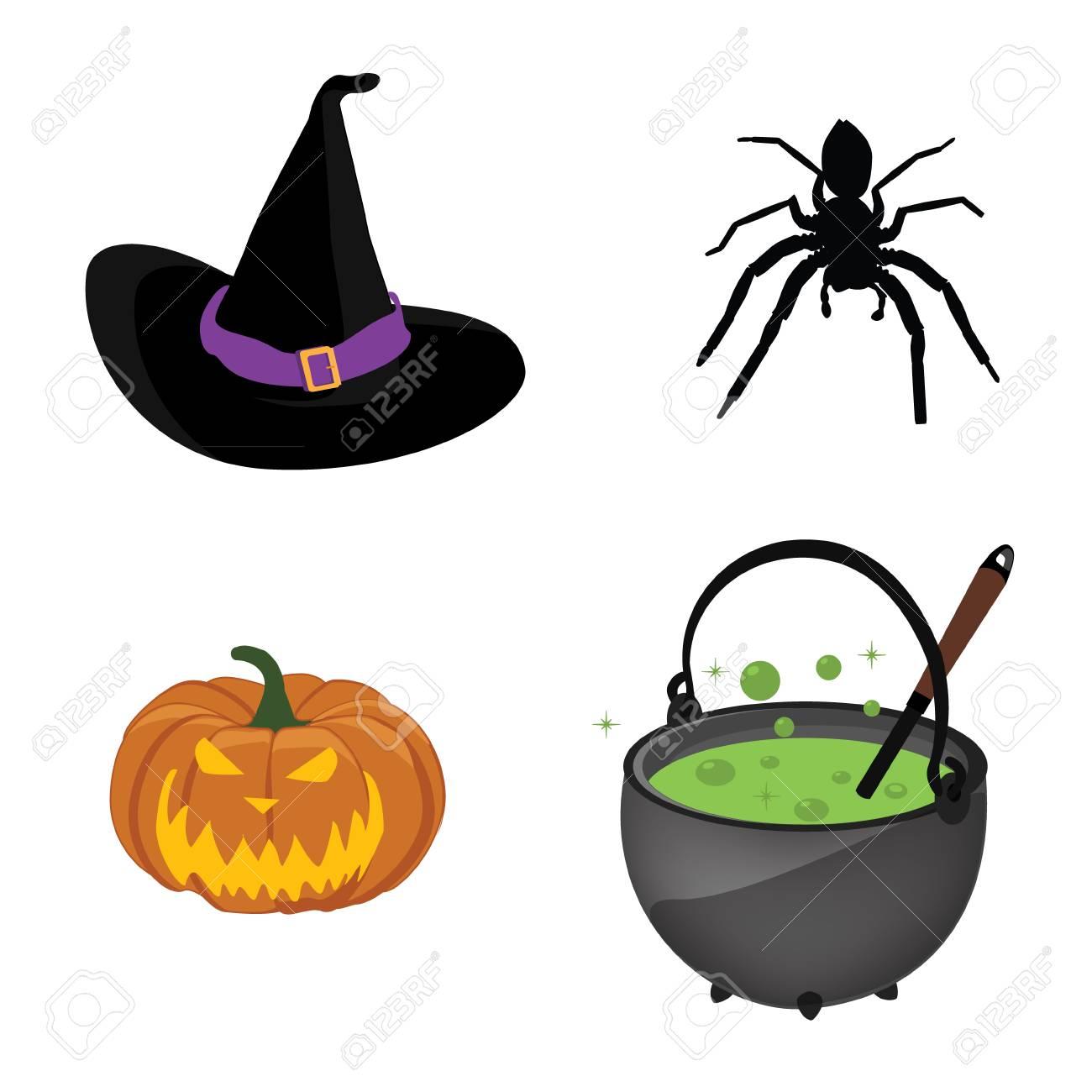 272de3d93 Halloween symbols collection. Black witch hat, pumpkin, spider..