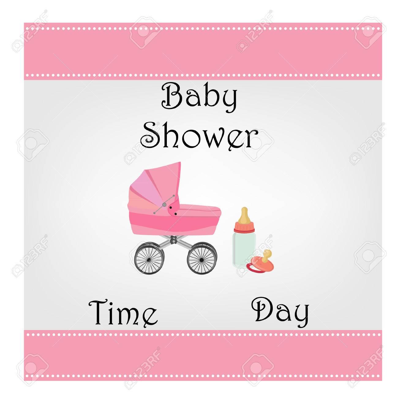 Postcard Baby Shower, Baby Girl, Invitation, Greeting, Raster Stock ...