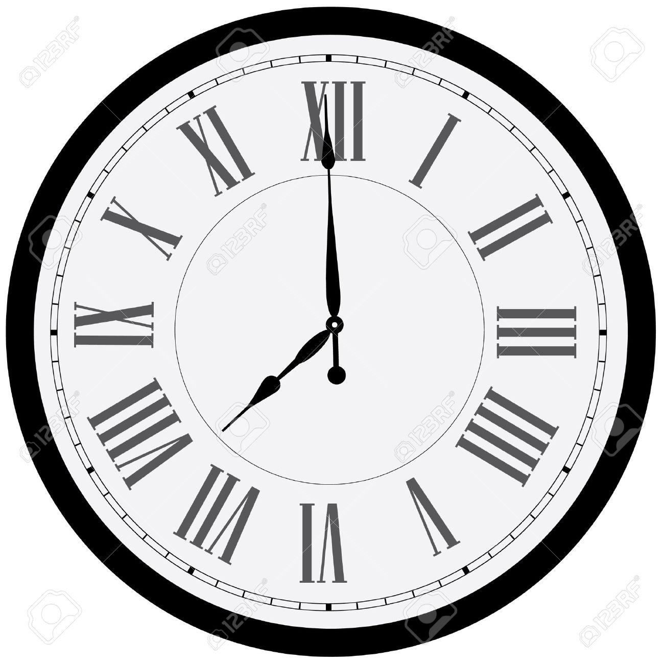 Black wall clock raster isolated. Clock on wall shows eight o'clock. Roman numeral clock - 47517338