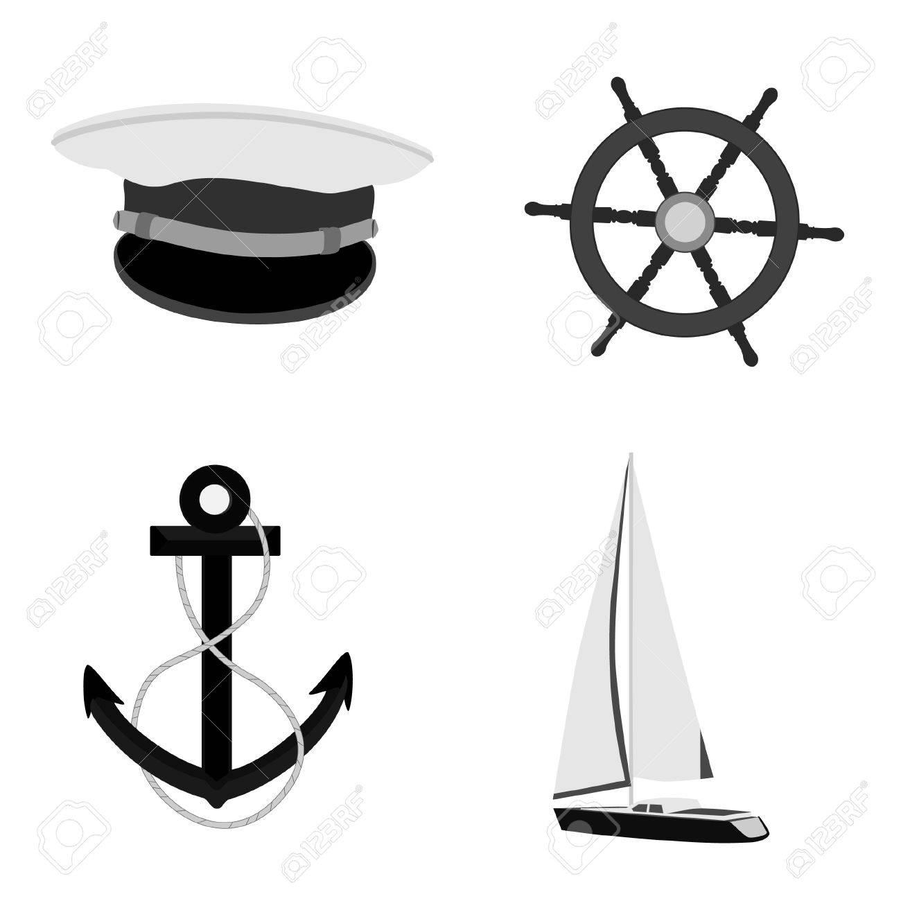 amazing selection sneakers for cheap on feet shots of Luxe, yacht de course, roue de bateau, chapeau et ancre capitaine de marine  icône raster