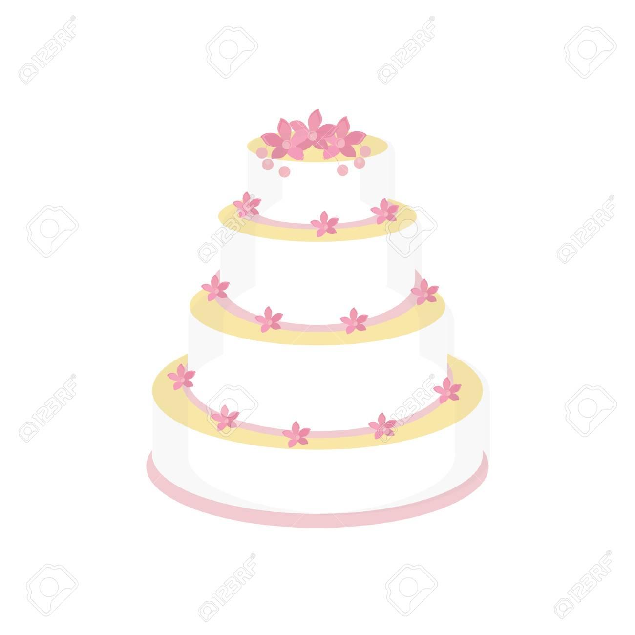 Wedding cake with pink flowers raster isolated wedding invitation stock photo wedding cake with pink flowers raster isolated wedding invitation mightylinksfo