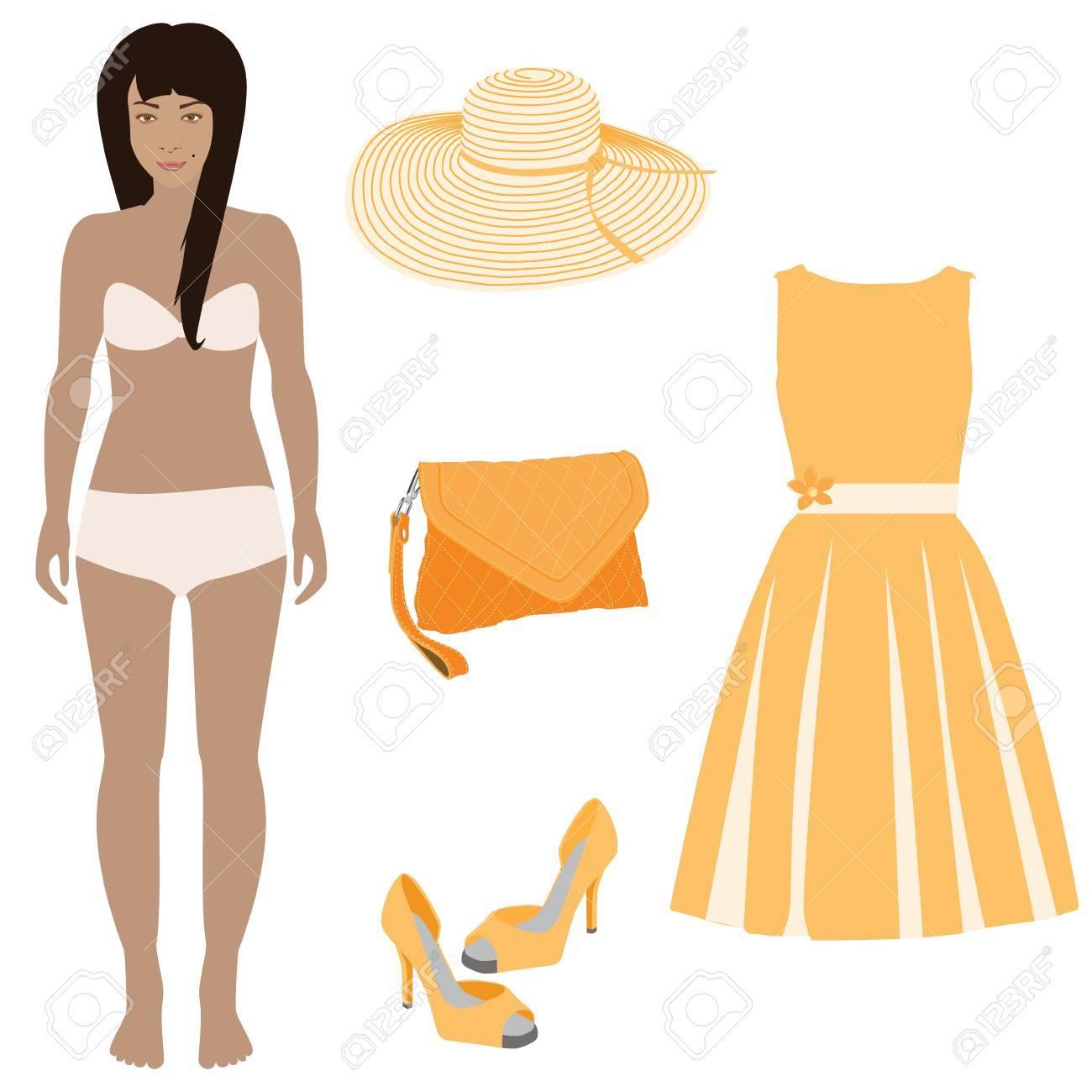De Vestir Hermosa Muñeca De Papel Femenino Listo Para Cortar Y Jugar Ilustración De La Trama Naranja Vestir Bolsos Zapatos Y Sombrero De Verano