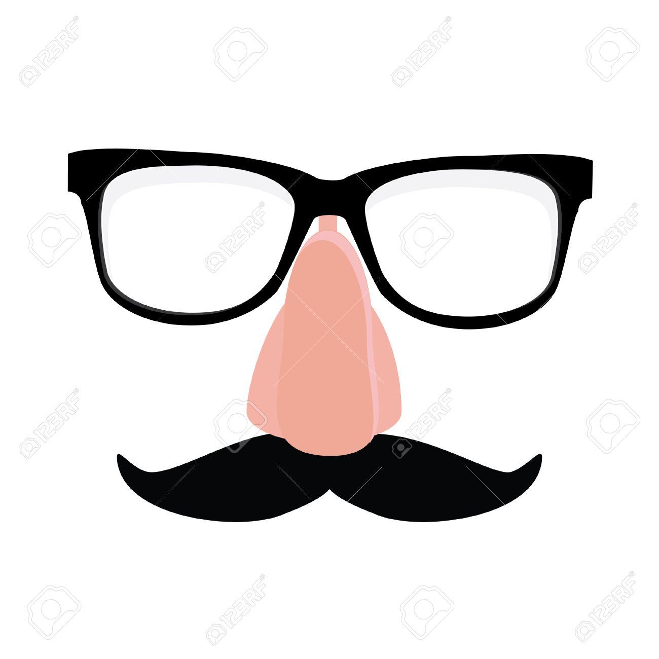 55cfe429c961 Fake nose and glasses humor mask raster illustration. Disguise glasses