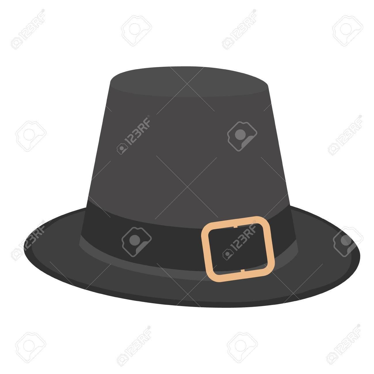 Sombrero De Peregrino Negro Con Hebilla Ilustración Vectorial ...