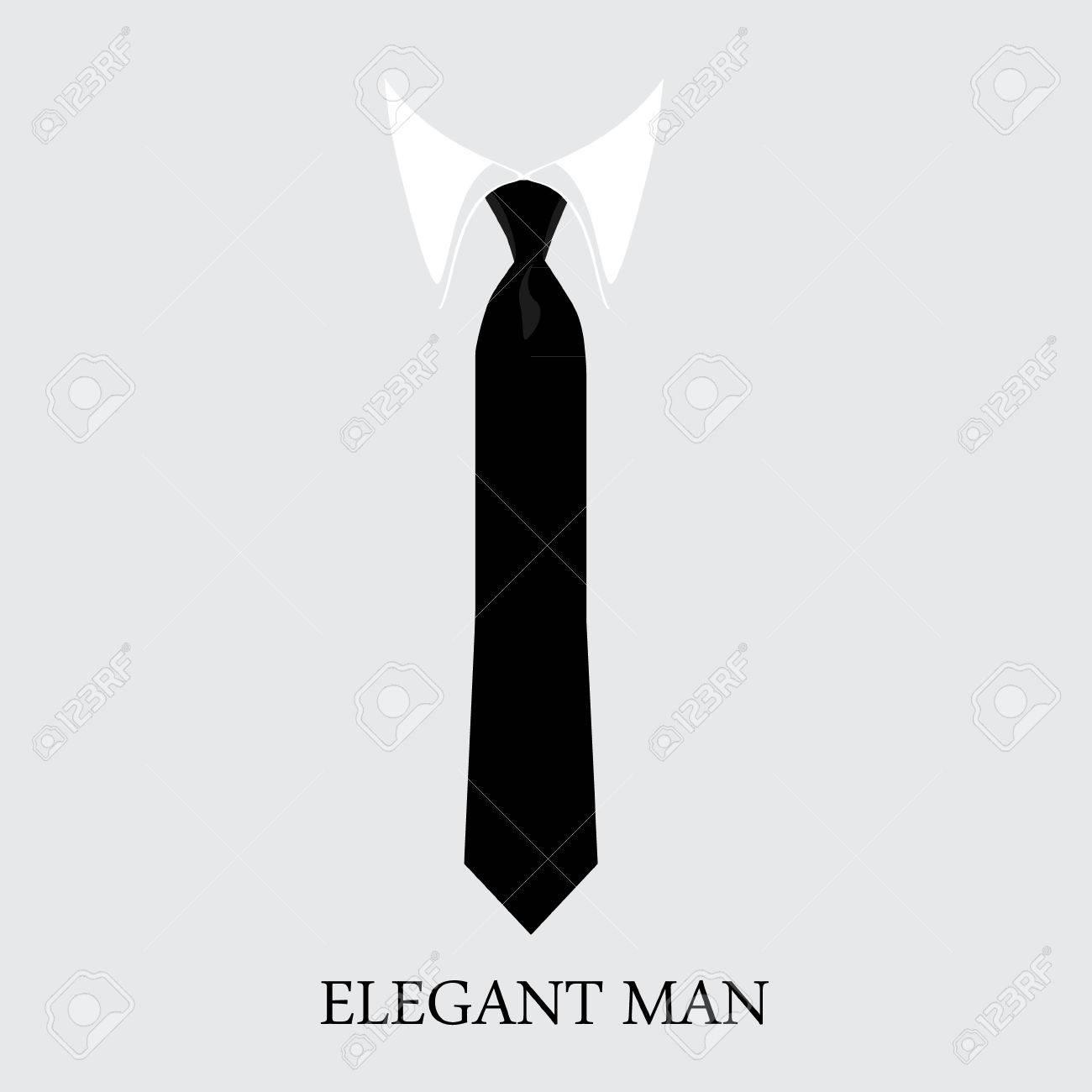 black necktie vector illustration white shirt and black tie