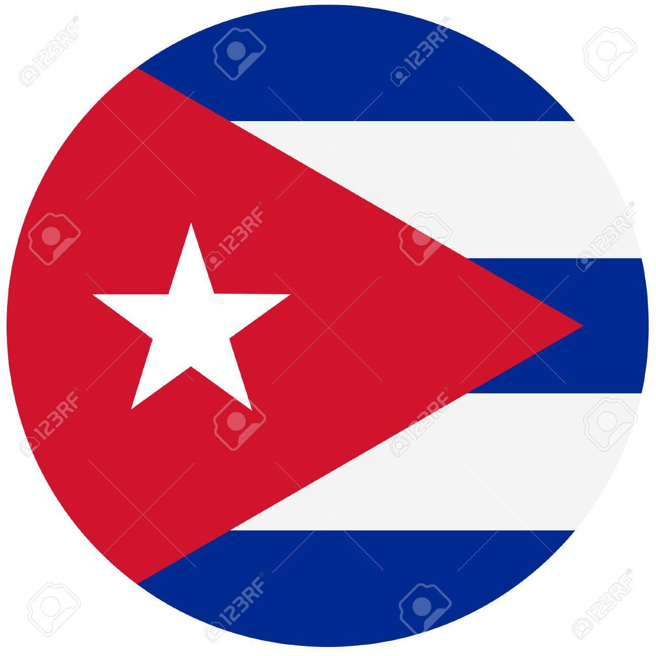 Vector Illustration Of Cuba Flag. Round National Flag Of Cuba. Cuban Flag  Stock Vector