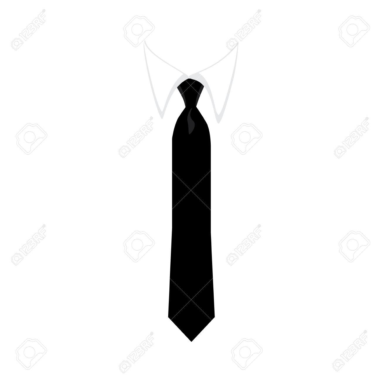 Noir Cravate Vecteur Icone Vector Illustration D Une Chemise
