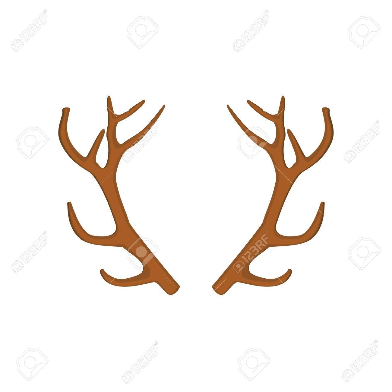 Raster Illustration Of Deer, Antler Horns. Animal Horn Stock Photo ...
