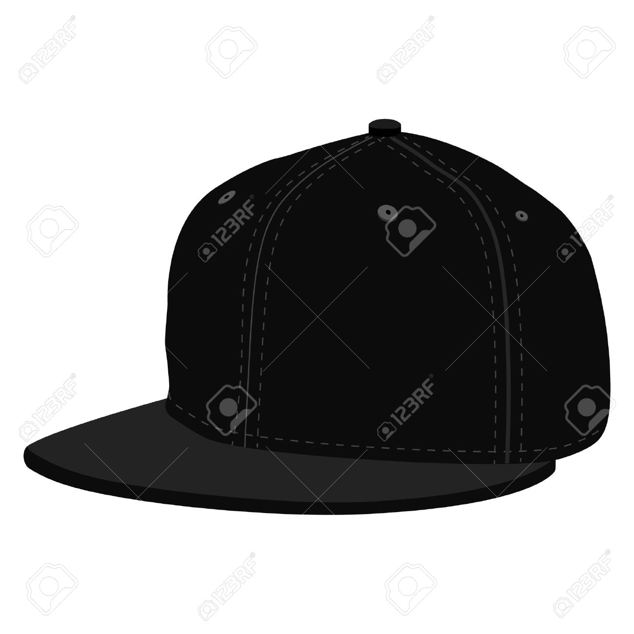 illustration black hip hop or rapper baseball cap. Baseball cap icon - 49353679