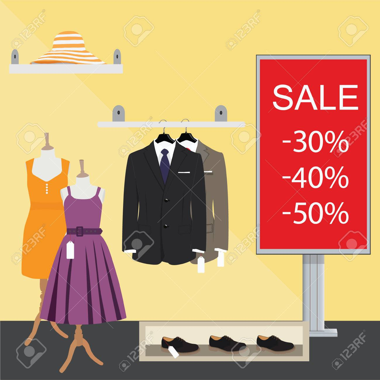6decffcb Clothing store. Man and woman clothes shop and boutique. Shopping, fashion,  hat