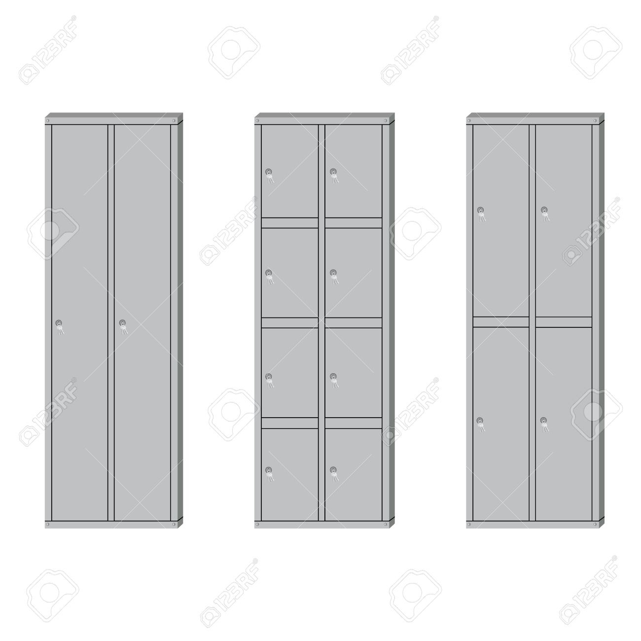 Illustration Set Of Metal School Sport Lockers. Gym Locker. Locker Door.  Deposit Lockers