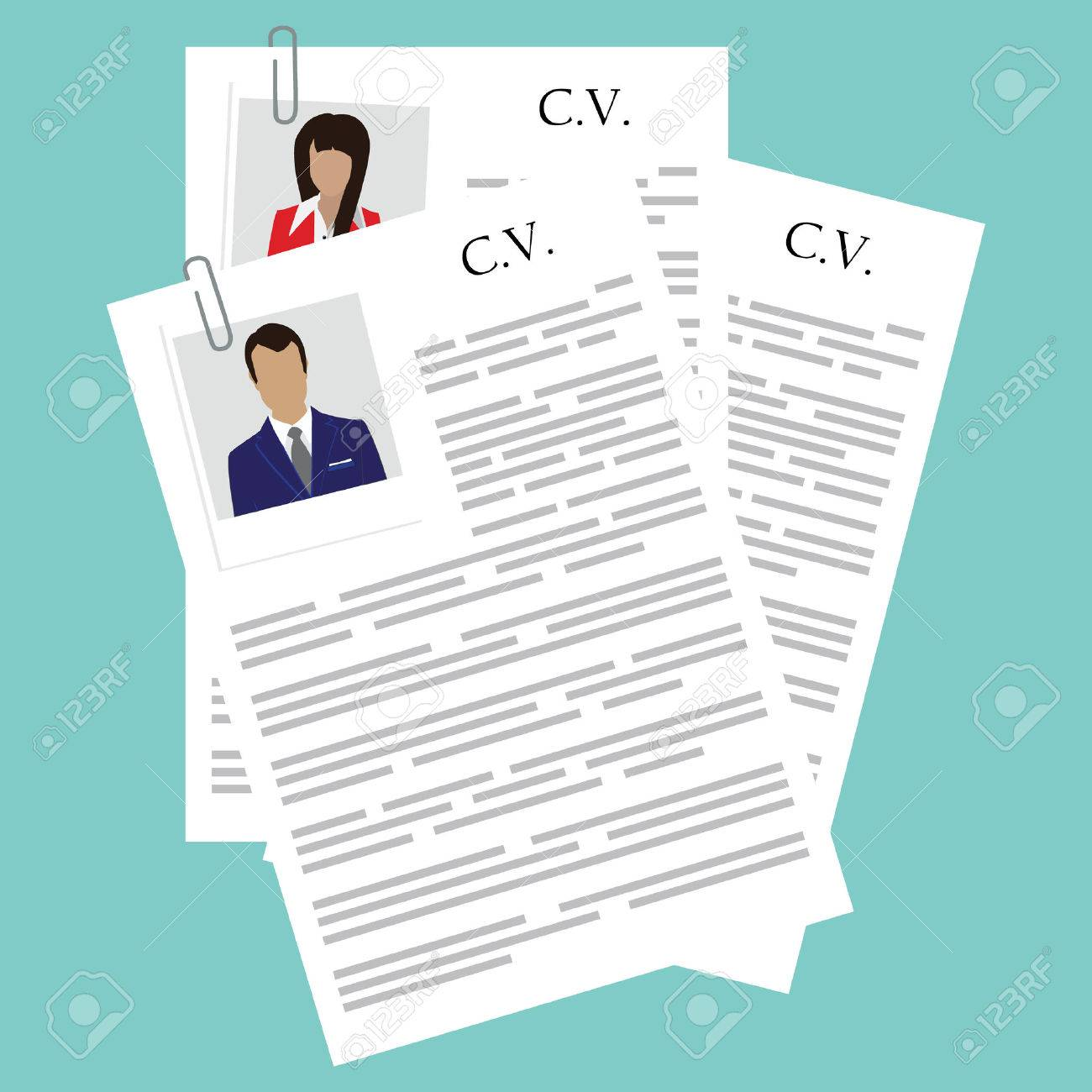 vector illustration curriculum vitae with woman and man polaroid