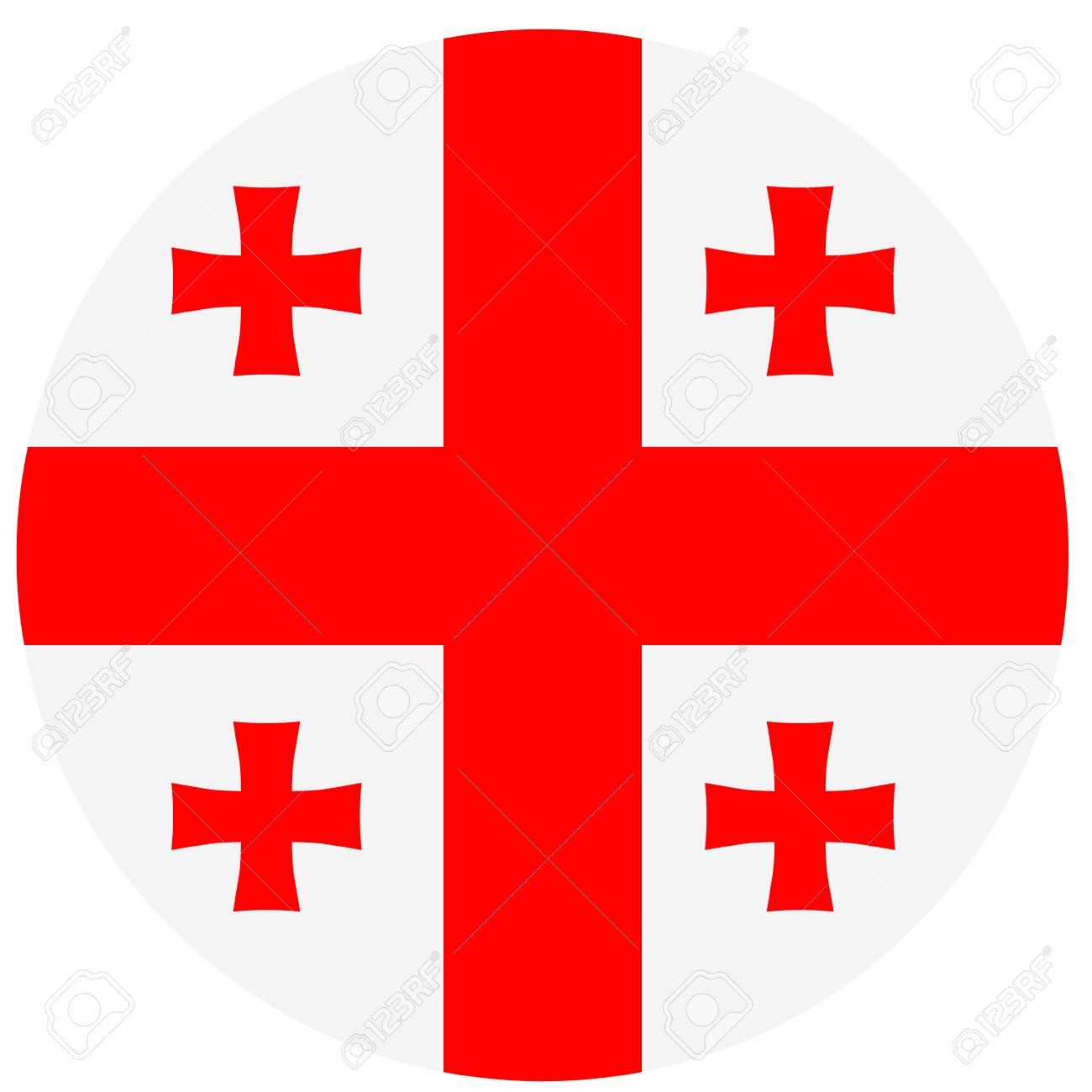 Drapeau Rond vector illustration drapeau rond de la géorgie pays. drapeau