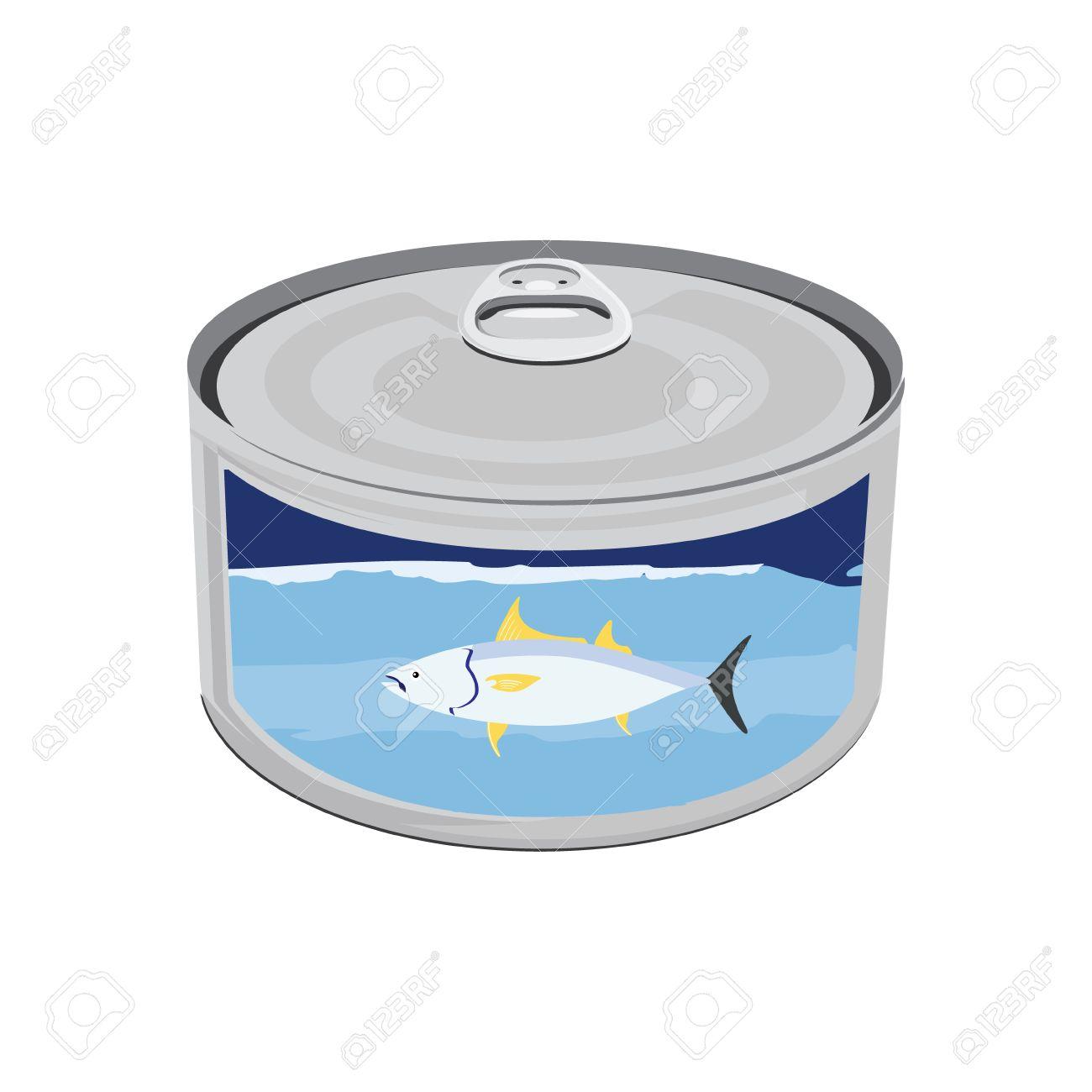 Vector illustration canned tuna fish icon. Can of tuna with label tuna fish. Flat design - 49946205