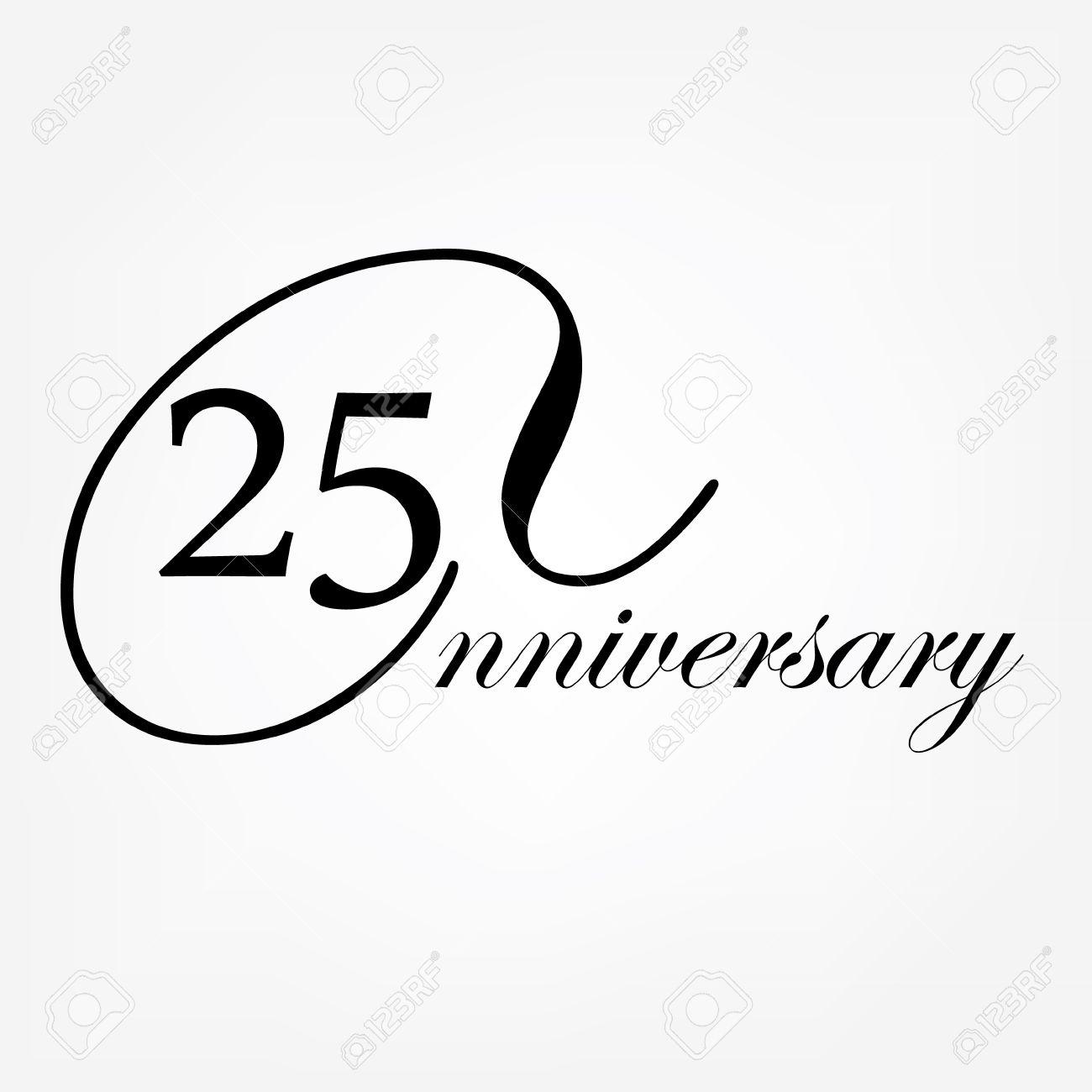 Bekend 25-jarig Jubileum Logo. Vector Illustratie Decoratief Embleem Van @QV75