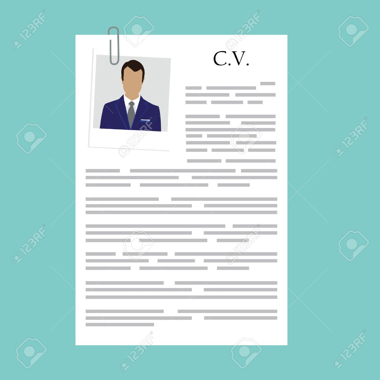vector vector illustration curriculum vitae with man polaroid photo cv on blue background job interview concept with cv resume
