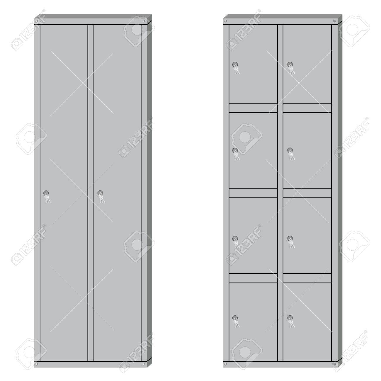 Vector   Vector Illustration Set Of Metal School Sport Lockers. Gym Locker. Locker  Door. Deposit Lockers