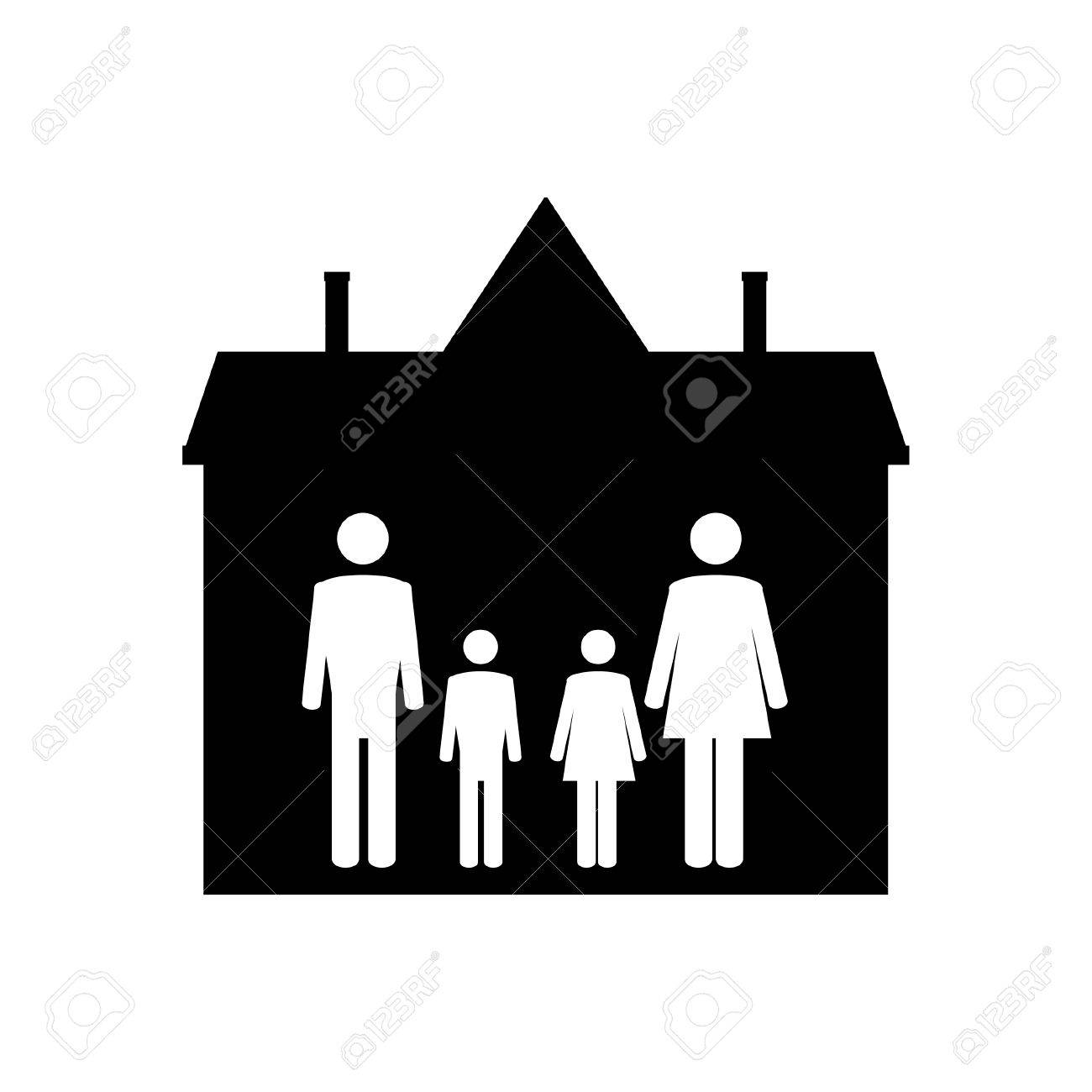 Family Symbols Mother Father Son And Daughter In House Family