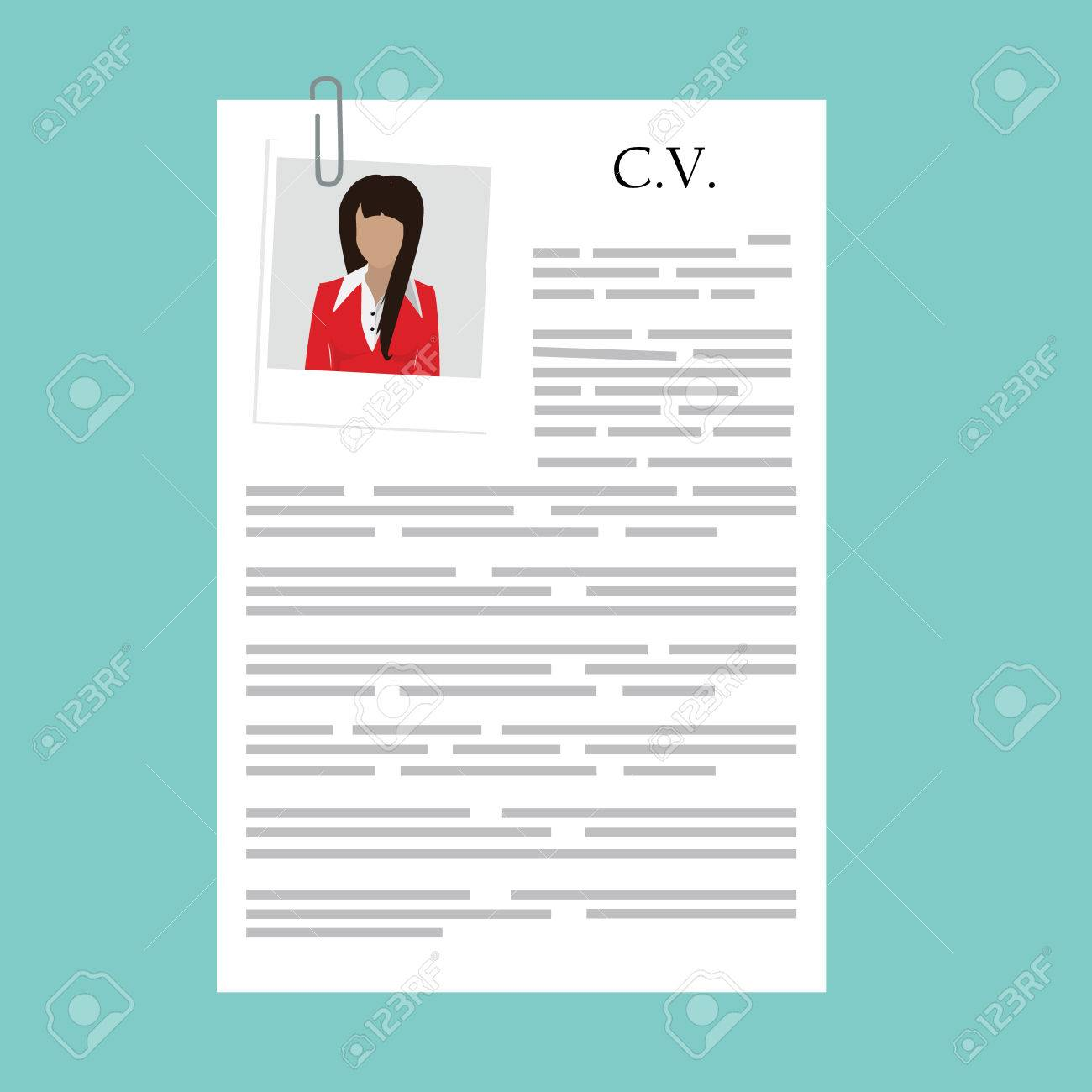 vector illustration curriculum vitae w polaroid photo vector vector illustration curriculum vitae w polaroid photo cv on blue background job interview concept cv resume