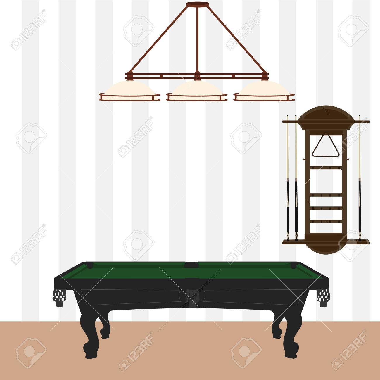 Vector   Vector Illustration Retro, Vintage Pool Table With Green Cloth,  Wall Cue Rack And Lamp With Three Shades. Pool, Billiard Room