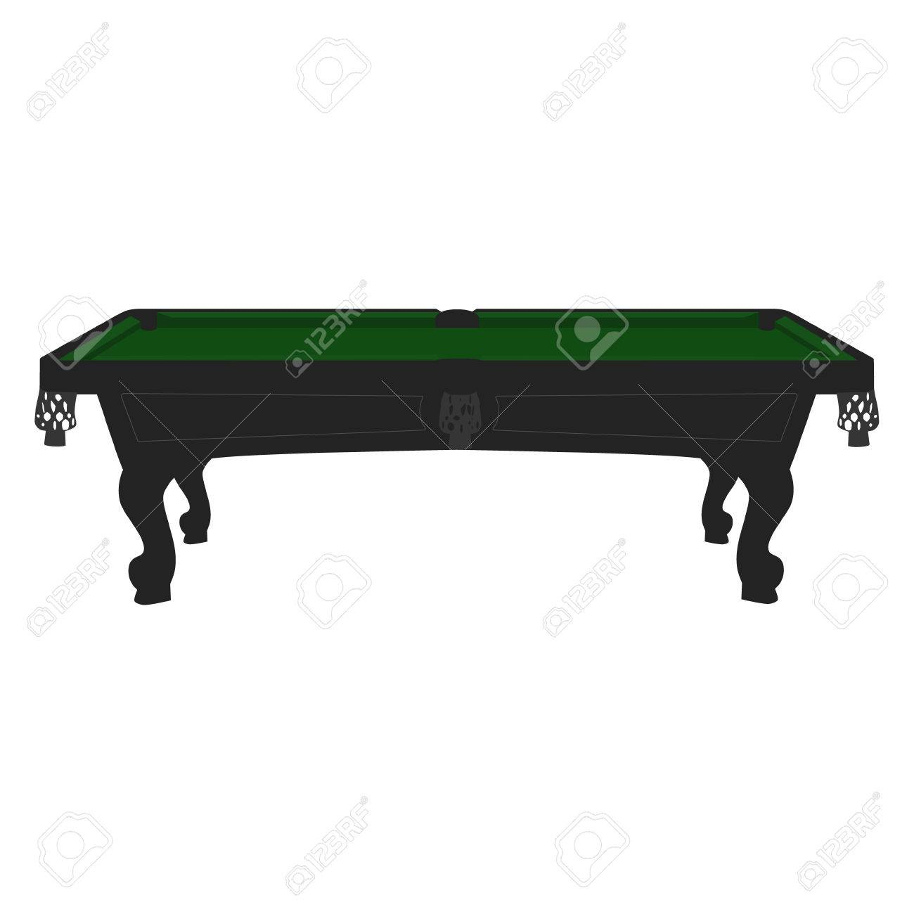 Vector Illustration Retro Vintage Pool Table With Green Cloth - Retro pool table