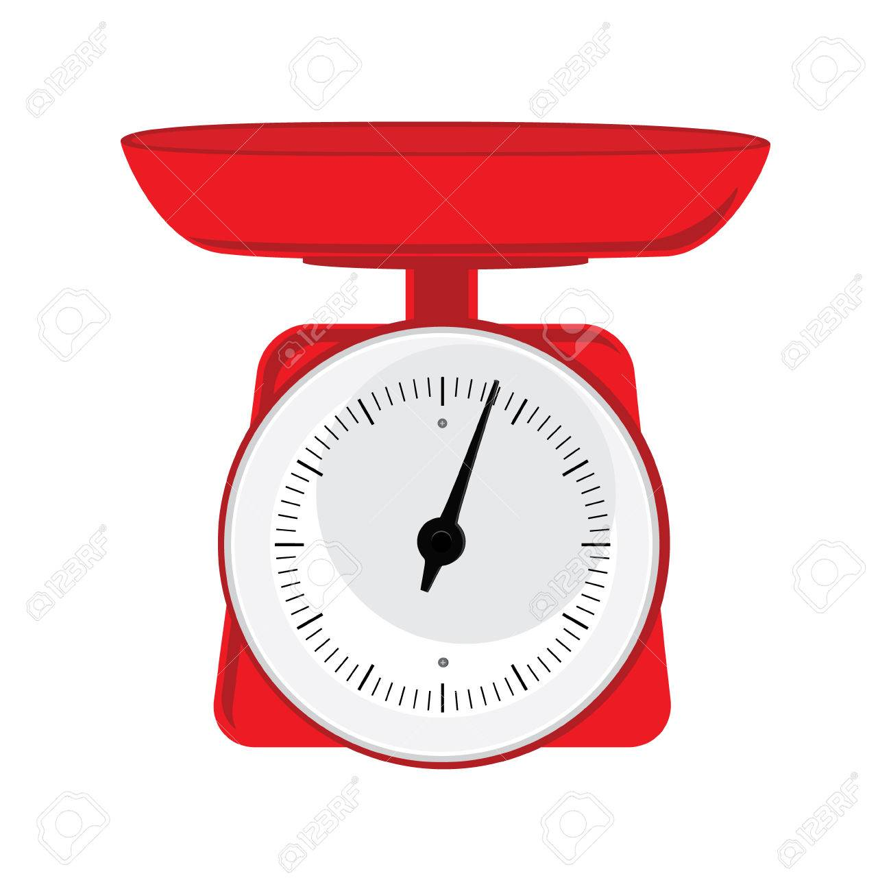 Vector illustration red weight scale on white background. Weighing scales with pan and dial for weight measurement. Kitchen appliances or measuring tool - 51459012