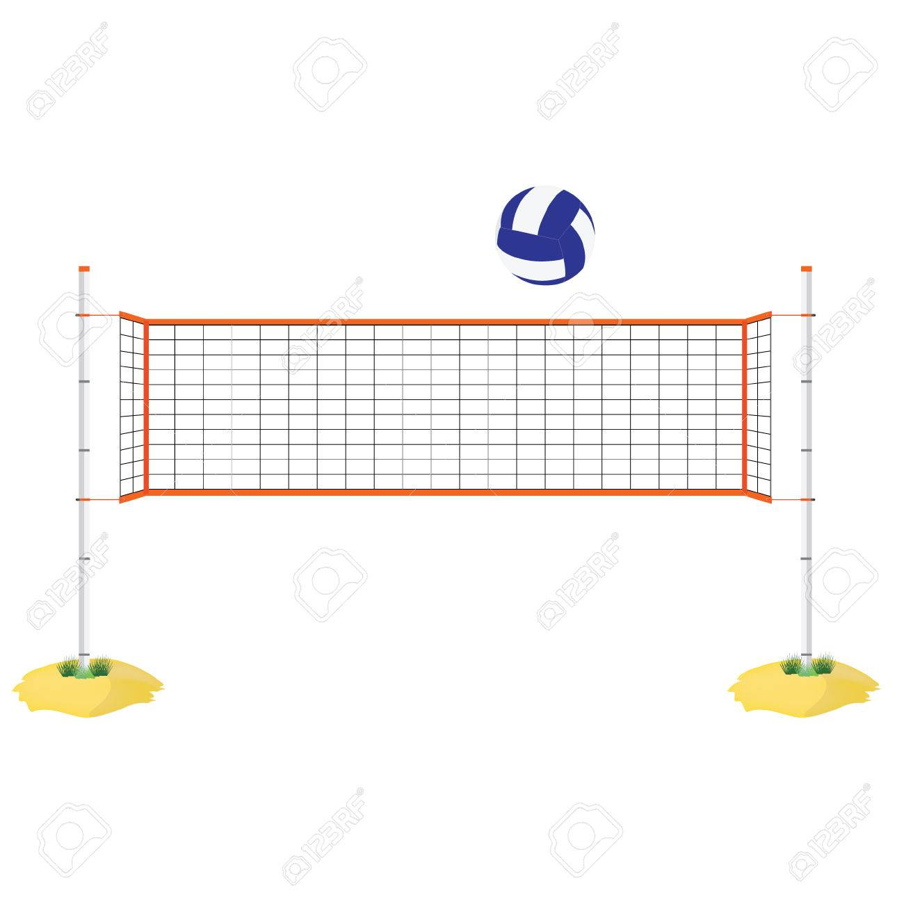Vector Illustration Beach Volleyball Net And Ball. Orange Indoor ...
