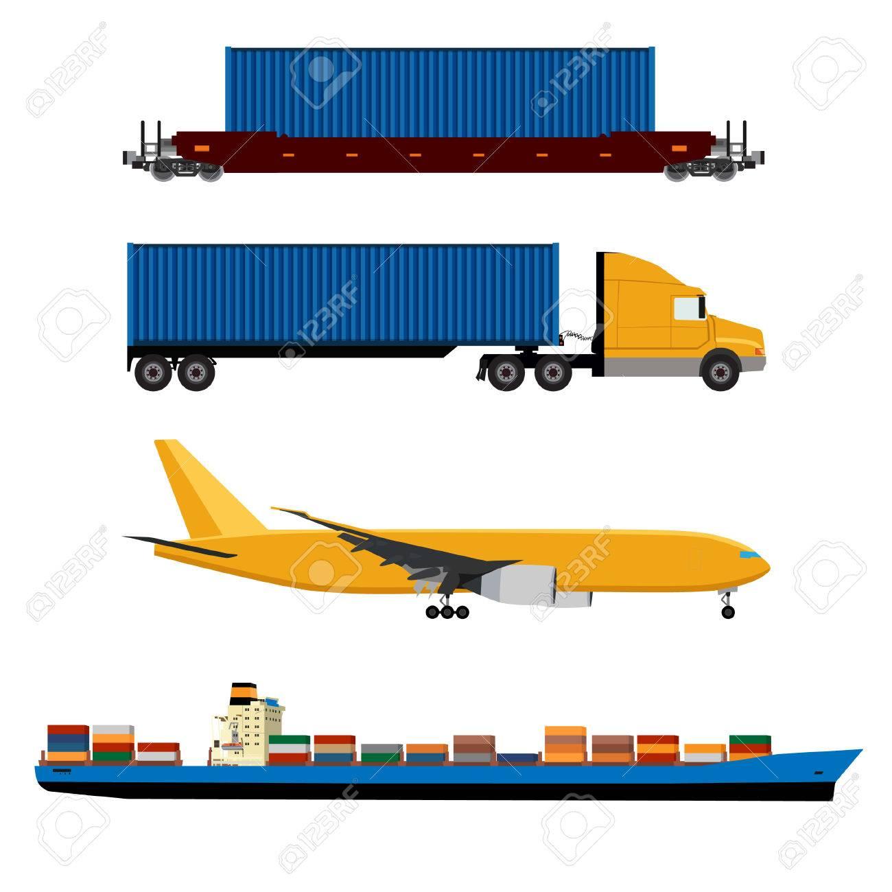 Ilustración De La Trama De Avión Amarillo, Camión Con Contenedor ...