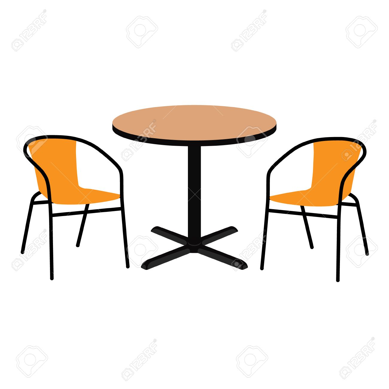 Vector - Vector illustration wooden outdoor table and two chairs. Round table and chairs for cafe restaurant terrace  sc 1 st  123RF.com & Vector Illustration Wooden Outdoor Table And Two Chairs. Round ...