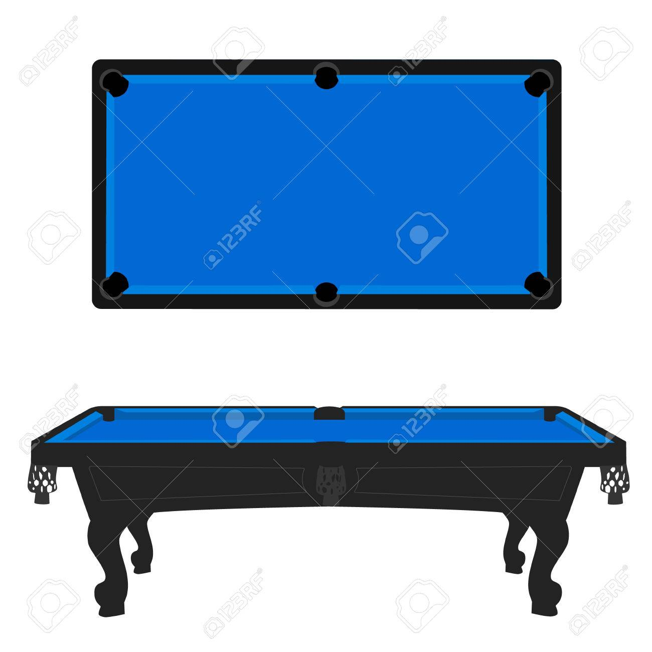 Gentil Vector   Vector Illustration Retro, Vintage Pool Table With Blue Cloth Top  And Side View. Empty Billiard Table