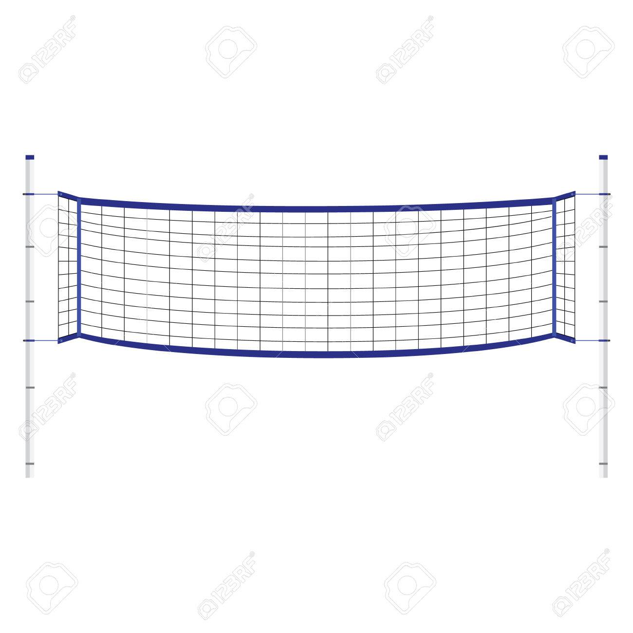 Vector Illustration Beach Volleyball Net. Blue Indoor Volleyball ...