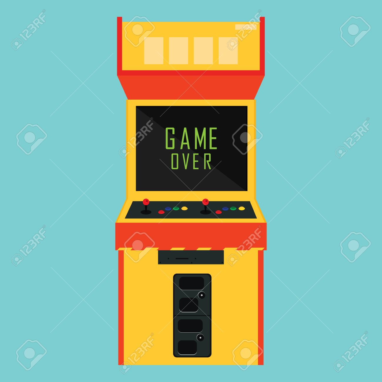Vector illustration retro arcade with pixel game over message. - 51954825
